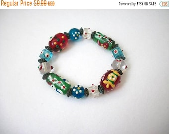 ON SALE Vintage Italian Murano Glass Hand Made Lamp Work Stretch Bracelet 102616