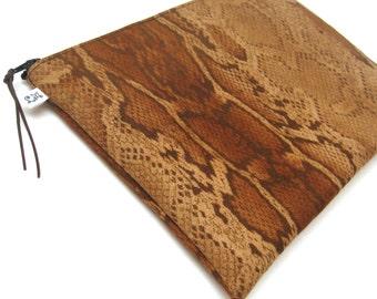 Clutch Purse, Ipad Mini Case  - Snake Skin Microsuede in Cocoa Brown