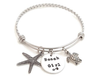 Bangle - Beach Girl Bangle - Christmas Gift for teen girl - Starfish and Turtle Bangle - Beach Bracelet - Sandy dreams bracelet