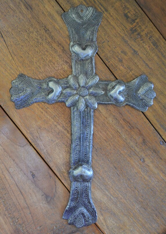 """Metal Cross with Flowers and Hearts, Detailed Hammering Work, Veve Freda, Recycled Haiti Wall Art 6"""" x 9"""""""