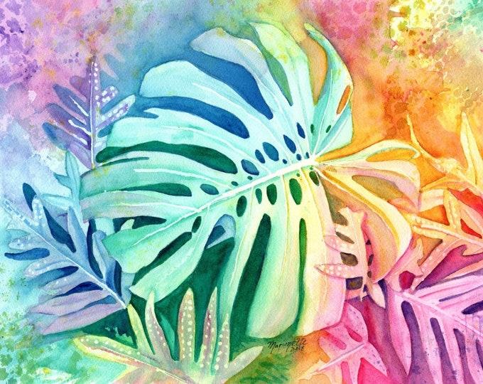 Monstera Art, Monstera Watercolor, Hawaiian Foliage, Monstera Deliciosa, Tropical Leaves, Rainbow Art, Hawaiian Art, Tropical Fern Art