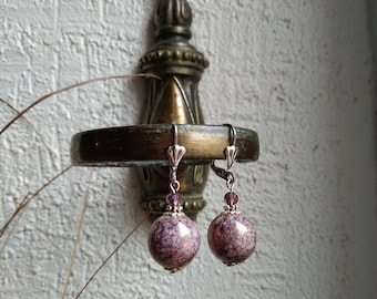 Ball earrings plum purple vintage style antique marbled silver effect