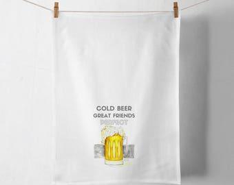 Tea Towel with Beer, Beer Print, Beer Friends Print, Cold Beer Print,Gentlemen's Gift, Gift, Personalized Gift, Southern Gentleman