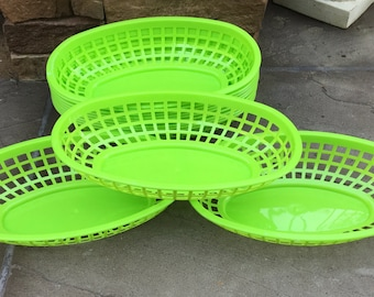 LIME GREEN Food Baskets, Food Tray, Party Baskets, Use for Party, Picnic, BBQ, Events