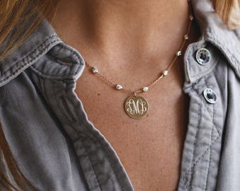 Monogrammed Necklace in Rose Gold and Silver with Saturn Chain, Two Tone Monogram Gold Necklace Bridesmaid Present, Silver Gold or Rose Gold