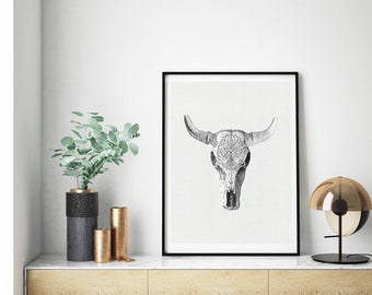 Mineral Photography - (Print # 190)   - Cow Skull -  Fine Art Print -  Bohemian Home