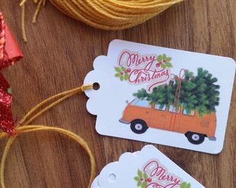 Christmas Gift Tags Custom Made Vintage Car Kombi Van with Christmas Tree Gift Decoration