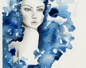 Fashion Illustration Watercolor Fashion Wall Art Watercolor Painting Print Blue Watercolor Fashion Illustration Fashion Watercolor Painting