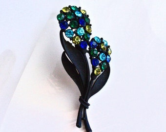Blue & Green Rhinestone Flower Brooch ~ Vintage Black Floral Stem Pin w/ Rhinestones