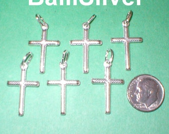 6 pieces Sterling Silver 925 22mm Textured CROSS Pendants Lot - Real Silver - Free Shipping Worldwide
