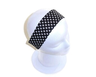 Wide Headband, Hair Accessories, Gift for Women or Girls, Reversible Fabric Headband, Black & White, Stripe Dot Fabric