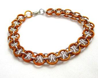 Orange Helm Chainmaille Bracelet - Orange Chain Maille Bracelet - Chain Bracelet
