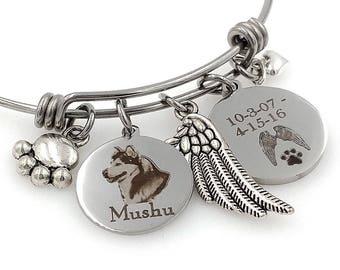 Malamute, Siberian Husky Personalized Memorial Remembrance Bangle Bracelet or Necklace, Engraved - Rainbow Bridge