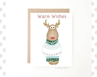 Reindeer Holiday Card - Illustrated Christmas Card - Funny Christmas Card - Holiday Sweater Card - Recycled Paper