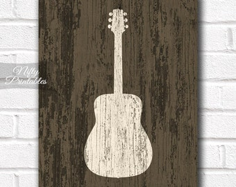 Guitar Art - Rustic Guitar Print - PRINTABLE Guitar Poster Print - 8x10 Music Wall Art - Guitar Gifts - INSTANT DOWNLOAD Poster Decor