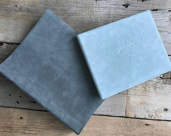 Soft Nubuck Leather Guest Book - Gray Guest Book, Slate Guest Book Black Guest Book - by ClaireMagnolia