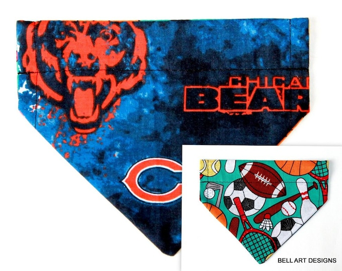 CHICAGO BEARS, Over the Collar ~ Reversible ~ Dog Pet Bandana ~ Bell Art Designs ~ Extra Small ~ DCXS0377