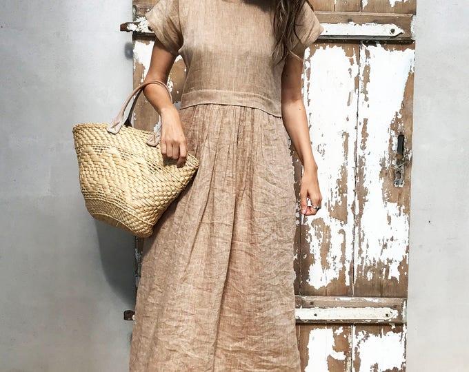 Linen Maxi Dress, Long linen dress, plus size maxi dress with sleeves, summer beach dress, plus size dress, maxi linen dress dress for women
