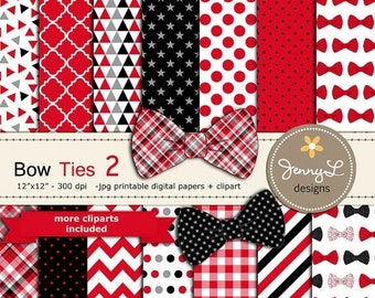50% OFF Bow Ties Digital Papers and Clipart, Baby Shower, Little Man, Boy Birthday, Red and Black Digital Scrapbooking Party Theme