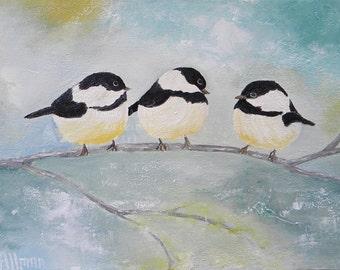 Custom Bird Oil Painting, Three Chickadee Birds on a Branch , Oil Bird Painting, Impasto Bird Painting, Wedding, Home Decor, Chickadee