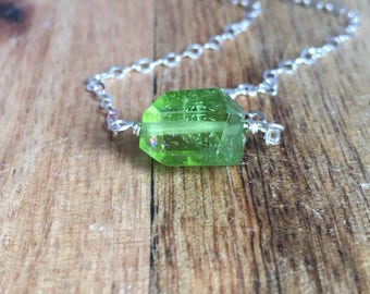 Peridot Pendant Necklace in 14k Gold Fill or Sterling Silver Chain - Peridot Jewelry - Peridot - August Birthstone - Crystal Necklace