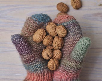 Hand knitted bobbles mittens  - Pastel colors ombre yarn - Adult size bobbles mittens