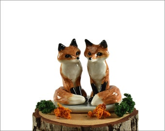 Red Fox Wedding cake topper / ceramic fox cake topper / Woodland wedding cake topper / bridal shower cake topper gift by Anita Reay souvenir