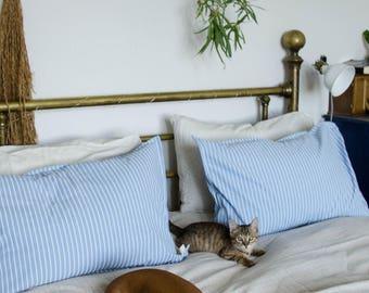 Set of 2 Cotton Pillowcases, blue + white stripes
