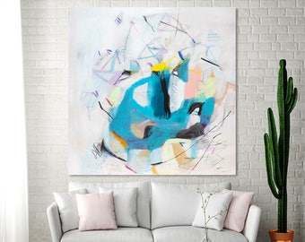 Large ABSTRACT PAINTING Print Modern Canvas art WHITE painting up to 40x40 with aqua blue playful art by Duealberi