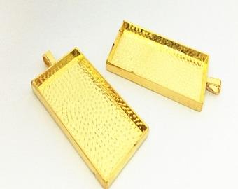 5pcs 25mm x49mm gold color rectangle pendant  base