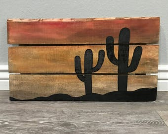 Cactus sunset reclaimed wood sign