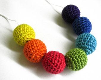 Crocheted beads 18 or 20 mm handmade round rainbow, 7 pc.