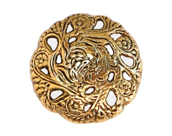 12 Evensong 5/8 inch ( 15 mm ) Metal Buttons Antique Gold Color