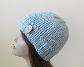 Womens Knit Hat Teens Knit Hat Winter Hat Chunky Knit in Glacier Blue with Coconut Shell Button Accent - Ready to Ship - Gift for Her
