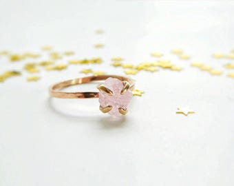 Rose Quartz Ring, Promise Ring, Engagement Ring, Rose Quartz Engagement Ring, Rose Quartz Jewelry, Gold Engagement Rings, Rose Quartz Stone