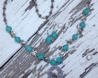 Turquoise sea turtle locket necklace and earrings
