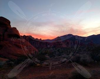 Desert Mountain Sunset  Valleybof Fire Landscape Canvas Photography