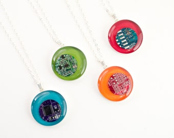 Computer Circuit Board Necklace, Sterling Silver Necklace, Colorful Geeky Jewelry, Rainbow Necklace, Computer Programmer, Upcycled Jewelry
