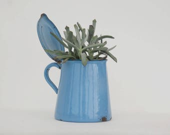 Blue Enamel Pot, Blue enamelware, French kitchen utensil holder, Metal planter, Blue kitchen decor.