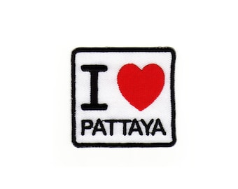 Ae77 I love Pattaya patch Thailand Asia Travel Country Ironing application Patch patches size 6.2 x 5.8 cm