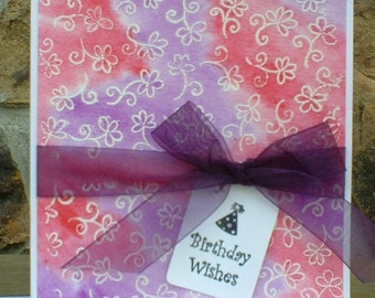Floral Pink and Purple Birthday Wishes Greeting Card