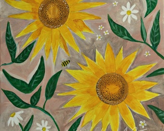 Sunflowers, Art Print, A4 Print, Artwork, Sunflower Art, Floral Art, Art, Painting