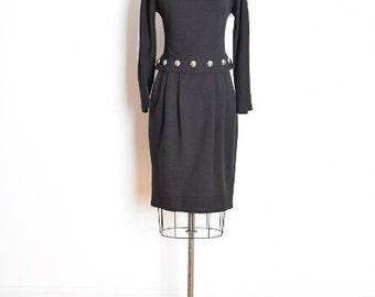 vintage 90s dress, studded dress, brass studs, tiered dress, 90s bandage dress, tight dress, long sleeves, 1990s 90s clothing, black dress
