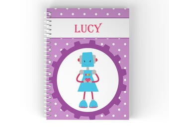 Personalized Notebook - Robot Girl Purple Polka Dot Gear with Name, Customized Spiral Notebook Back to School