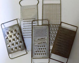 5 Vintage Metal Slaw Cutters Cheese Graters