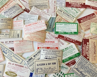 Pharmacy Labels / 10 Vintage Drug Store Labels Assorted Sizes for Altered Arts, Mixed Media