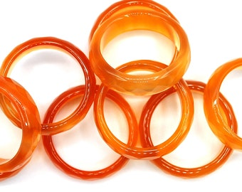 Medium Light Orange Facet Agate Ring (Discover the POWERS of Agate in our description)
