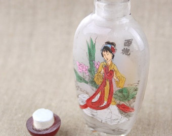 Reverse Inside Painted Chinese Oriental Snuff Bottle Double Sided on Glass  Painted Ladies