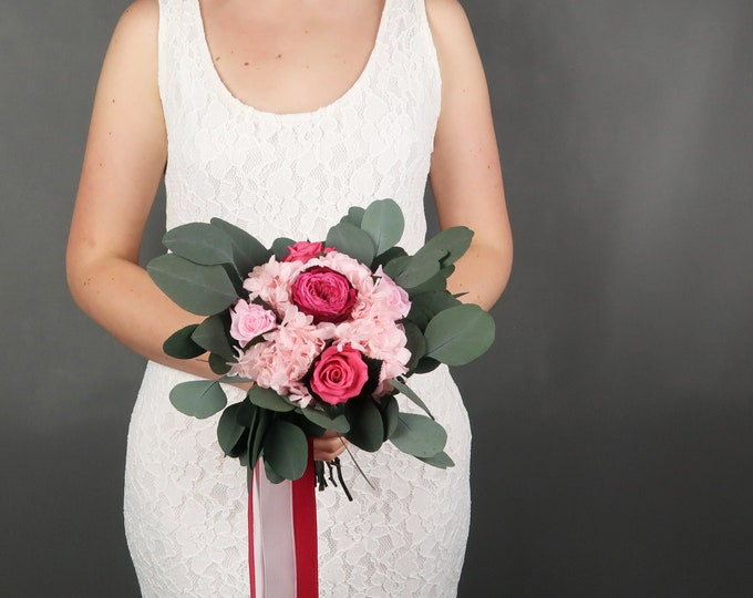 Fuchsia Pink preserved real flowers wedding bouquet blush pink bridal rose hydrangea eucalyptus greenery vibrant color boho wedding