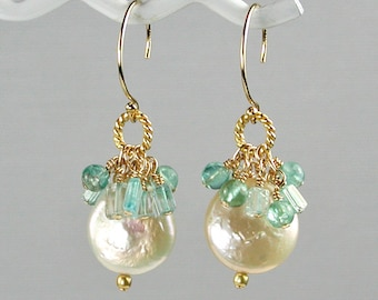 White Coin Pearl with Topaz and Aquamarine Charms Earrings